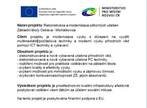 Projekt: Rekonstrukce a modernizace odborných učeben Základní školy Ostrava-Michalkovice