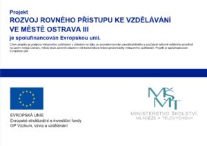 Logo projektu Rozvoj rovného přístupu ke vzdělávání ve městě Ostrava III
